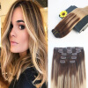 14-24 7Pcs 120G Ombre Balayage Color #4 Faging to #18 Brazilian Remy Hair Full Set Clip In Hair Extensions 100% Human Hair