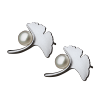 Luo Linglong s925 sterling silver earrings female ginkgo leaves natural pearl earrings decorated allergy simple temperament art airborne pollen allergy