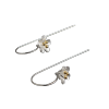 Luo Linglong s925 sterling silver earrings earrings female gold plated five flower ear earrings earrings simple retro art Valentin silver plated bar dangle drop earrings