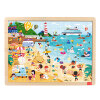 TOI Wooden Jigsaw Puzzle with Storage tray (24/48/80/100pcs) for kids kids wooden multilayer jigsaw puzzle toys early education 3d puzzle story cartoon fire fighting truck puzzle for children gift