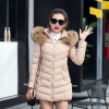 2017 New Winter Women's Coat Long Cotton Big Fur Collar Coat Padded Down Jacket 2017 new long winter jacket women big zipper thick jas warm cotton coat hooded fur collar black female parkas padded outerwear