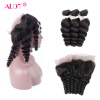Alot Hair 7A Loose Wave 3 Bundles with Closure Virgin Peruvian Hair Loose Wave с 360 фронтальным закрытием Curly Human Hair Extension 1kg high quality peru black maca extract powder 10 1 peru maca lepidium meyenii free shipping