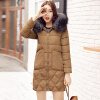 Winter New Arrival Women's Cotton-padded Long Coat Fashion Fur Collar Hooded Winter Warm Outwear Coat Jacket linenall women parkas loose medium long slanting lapel wadded jacket outerwear female plus size vintage cotton padded jacket ym