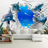 Фото Custom Mural 3D Stereoscopic Dolphin Broken Wall TV Sofa Backdrop Art Mural Painting Living Room Pictures Обои Домашний декор