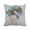 Pretty Girl Blue Bird Chinese Painting Polyester Toss Throw Pillow Square Cushion Gift dia 84cm handmade chinese classical blue dream rose painting waterproof parasol decoration gift dance props oiled paper umbrella