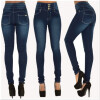 S - XXL 2016 Skinny Thin High Waist Pencil Pants Women Elastic Sexy Denim Jeans Trousers women fashion skinny denim pants high waist jeans pencil pants sexy slim elastic denim pant trousers lady black jeans 2017