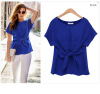 Women summer Short Sleeve Solid Color Chiffon Blouse T-shirt sexy Fashion Bow tie L28 lolita frilled pleated bell sleeve bow tie chiffon blouse