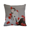 Beauty Red Flower Chinese Style Watercolor Polyester Toss Throw Pillow Square Cushion Gift flower plush stuffed pillow creative gift lovely cushion