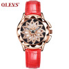 OLEVS Brand Luxury Women Watches Gold hollow out Красивый дизайн Кварцевые женские часы Red Leather Clock Wristwatch Luminous relogio masculino quartz watch men leather casual watches men s clock male sports wristwatch montre homme hodinky ceasuri saat