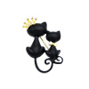 Cute Women Cat Brooch Pins Black Double Lover Cat Broocches Broches Crown Tie Cat Animal Jewelry Pin Дамы отворотные штыри для шты lucky zodiac animal cute cat brooch pin for women rhinestone animal brooches broches simulation pearl russia lapel corsage pin