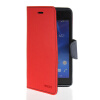 MOONCASE Classic cross pattern Leather Side Flip Wallet Card Pouch Stand Soft Shell Back чехол для Sony Xperia M2 Red
