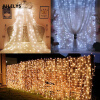 JULELYS 10m x 2m 640 Bulbs LED Свадебный занавес Light Outdoor Christmas Garland String Lights Украшение для Hilday Party Garden waterproof 9m vintage patio globe string lights black cord clear glass bulbs 30 decorative outdoor garland wedding