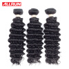 Allrun Deep Wave Brazilian Hair 3 Bundles Brazilian Deep Wave Virgin Hair Brazilian Curly Weave Human Hair Bundles 100g per Bundle 100% brazilian human hair weave deep wave brazilian hair 2 bundles cheap 6a brazilian curly virgin hair brazilian deep wave