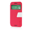 MOONCASE View Window Leather Side Flip Pouch Ultra Slim Shell Back ЧЕХОЛ ДЛЯ HTC One M8 Hot pink hot sales high quality hand riveter pull rivet nut riveting tools with one m8 die free shipping bt 606