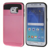 MOONCASE ЧЕХОЛ ДЛЯ Samsung Galaxy S6 Edge Soft Silicone Gel TPU Skin With Card Holder Protective Pink mooncase litchi skin золото chrome hard back чехол для cover samsung galaxy s6 edge браун
