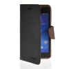 MOONCASE Classic cross pattern Leather Side Flip Wallet Card Pouch Stand Soft Shell чехол для Sony Xperia M2 Black Brown