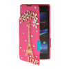 MOONCASE Rhinestone Crystal Ultre Slim Leather Side Flip Wallet Back ЧЕХОЛ ДЛЯ Sony Xperia Z1 Compact (Mini) Hot pink
