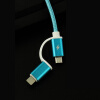 Nylon Braided 2 in 1 High Speed Sync Data Micro USB Charging Cable Line For iPhone 7 6s Plus Android  580198 2 in 1 charging