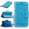 Light Blue Bear Embossed PU Leather Wallet Case Classic Flip Cover with Stand Function and Credit Card Slot for SAMSUNG Galaxy J1 card holder wallet with stand flip magnetic pattern full body case cover uk flag pu tpu leather for samsung galaxy note 8