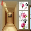YGS-139 DIY Full Diamonds Embroidery Triptych flowers roses vertical version Round Diamond Painting Cross Stitch Diamond Mosaic diy beads painting flower cross stitch wall decoration