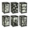 Decorative Candle Lantern with LED Flameless Candles with Timer-12 Piece Replaceable Surface, Black, 5X5X8.5 dfl 3x6 inch flameless real wax pillar electronic led candle with timer with embossed gold pearl