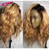 Malaysian Ombre Human Hair Full Lace Wigs 130% Density Blond Ombre Wig 27# Ombre Swiss Lace With Dark Roots Blond Hair Wholesale natural look short straight purple ombre wig dark roots cosplay wigs lace front wig exquisite synthetic hair for black woman