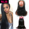 360Lace frontal With 2 pcs weft hair bundles.22x4x2 Brazilian Virgin human Silky Straight Hair 360 lace frontal with hair bundle 7a none full lace human hair wigs short straight glueless unprocessed virgin brazilian lace front wig black women