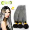 все цены на 3pcs Dark Root Brown Gray Ombre Weave Brazilian Virgin Hair Straight Two Tone Blonde Gray/Grey Weave Bundles онлайн