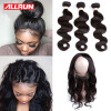 360 Lace Frontal Closure With Bundles Brazilian Body Wave 22*4*2 size 360 Lace Brazilian Virgin Hair With Human Hair Bundles 100% brazilian hair lace frontal with body wave hair bundles 3pcs virgin hair swiss lace frontal colsure with hair extensions
