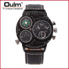 OULM Brand Watches Men Luxury Top Quartz-watch 3 Dials Vintage Military Wristwatch Male Leather Clock relogio masculino lg 55uh750v smart uhd