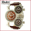 OULM 1167 Mens Vintage Steam Punk Leather Band Watches 3 Time Zone Japan MOVT Casual Quartz Watch oulm mens top luxury brand tag watches casual leather strap wristwatch double time zone japan movt quartz watch male clock