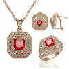 где купить  Yoursfs Indian Luxury Jewelry Sets,18K Rose Gold Plated Bling Cocktail Jewelry,Square Red Crystal Pendant Necklace & Earrings & Ha  по лучшей цене