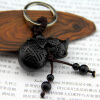 Chinese Traditional Wood Products Ebony Wood Good Luck Peace Winding Chinese Gourd Car Key Ring Pendant Keychain chinese traditional high quality detachable single pipe cross bblown flute bawu ebony ba wu key of g f c bb