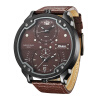Oulm New Arrive Double Time Zone Sports Watches Men Luxury Brand PU Leather Big Wristwatch Male Quartz Watch relojes hombre vh luxury brand men quartz watches 2017 double time show relojes casual male sports watches clock hours horloges mannen gift