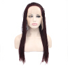 Anogol Braids Twist Handmade Burgundy Glueless Heat Resistant Hair Natural Wigs Lace Synthetic Front Wig heat resistant black root ombre blonde braided synthetic lace front wig big box braids wigs for african american black woman