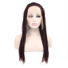 Anogol Braids Twist Handmade Burgundy Glueless Heat Resistant Hair Natural Wigs Lace Synthetic Front Wig headband wigs for black women heat resistant synthetic wigs synthetic lace front wigs with baby hair artificial wigs top quality
