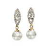 Yoursfs@  Gold Color Simulated Pearl Leaves Earrings  Drop Earring Jewelry Wholesale For Women Clip