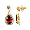 Yoursfs@ Fashion Stud Earrings Water Drop Ruby Gem Jewelry 18K Gold Plated CZ Earring Brincos Online Shopping Africa Wholesale yoursfs cc trendy three color drop earrings rose gold plated vintage dangle earring pendientes mujer moda online shopping india