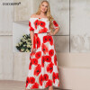 COCOEPPS Vintage Floral Printed Women Dress Sexy Off-Shoulder Maxi Dresses Plus Size Half Sleeve stylish off the shoulder floral printed