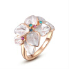 Yoursfs@  18K Gold Plated Enamel Flower Design with Colorful Crystal Cocktail Ring for Best Gift yoursfs heart necklace for mother s day with round austria crystal gift 18k white gold plated