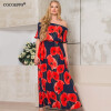 COCOEPPS Vintage Floral Printed Women Dress Sexy Off-Shoulder Maxi Dresses Plus Size Half Sleeve bohemian off the shoulder floral shirred flounce maxi dress for women