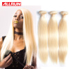 613 Blonde Virgin Remy Hair Straight 3 Bundles Human Hair Extension, 100% Unprocessed Brazilian Straight Blonde Hair Weave 1g s 100g human remy hair 8 light brown straight custom capsule keratin stick i tip fusion full human hair extensions