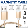 Keymao Magnetic Phone Kabel Data Type-C Micro USB Lighting Charger Cable 3-in-1 for iPhone iPad Samsung keymao magnetic phone kabel data lightning charger cable 2 in 1 micro usb for iphone 7 7 plus 6 6s plus ipad samsung s6 s7 s8 p