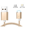 Keymao Magnetic Phone Kabel Data Lightning Charger Cable 2-in-1 Micro USB for iPhone 7 7 plus 6 6s Plus iPad Samsung S6 S7 S8 p mymei braided 10 nylon usb data sync charger cable cord fit iphone 6 6s plus 5s 5c 5