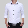 Brand 2017 Fashion Male Shirt Long-Sleeves Tops Classic Pure Color Ribbon Mens Dress Shirts Slim Men Shirt 3XL