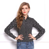 Women Spring Longsleeve Blouse Spring new temperament wave point Slim OL shirt was thin lapel long-sleeved chiffon blouse L17 meifeier 407 women s fashionable knitted chiffon blouse apricot l