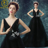 Sexy Evening Dresses Long Vintage Black Elegant Sleeveless Lace Satin Party Gown Prom Dress Women Backless Robe Evening Gowns вечернее платье red evening dress vestido sexy long evening dress