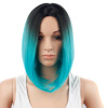 Dalin HAIR Ombre Blue Wig Synthetic Hair Short Wigs for Black Women Bob Straight Hair cheap synthetic hair wigs fashion wigs