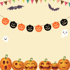 Halloween Decorations Charming Pull Flowers DIY Paper Material Accessories Bat Devil Pumpkin Witch Spider Festival Triangle flag