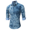 Brand 2017 Fashion Male Shirt Long-Sleeves Tops Psychedelic 3D Printing High Quality Mens Dress Shirts Slim Men Shirt vintage printing long sleeves shirt